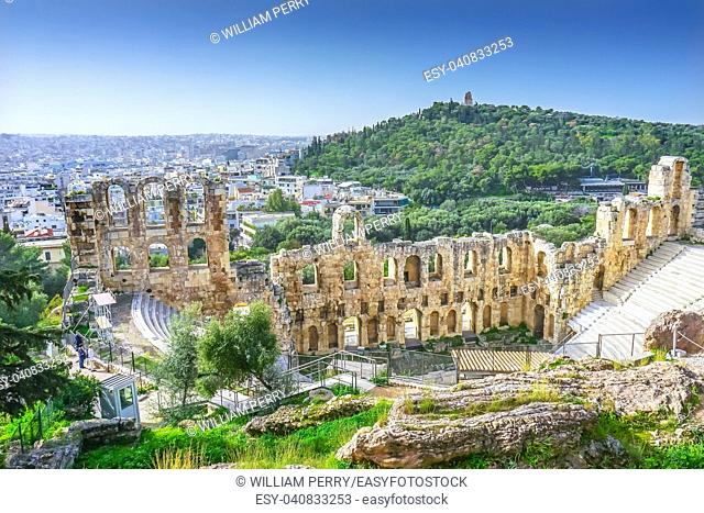 Odeon of Herodes Attiacus Acropolis Athens Greece. Stone Theater base of Acropolis. Built 161 AD. Renovated 1950, used as concert stage today