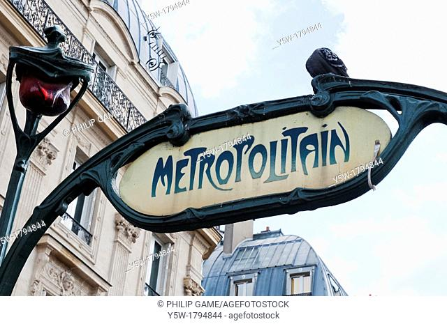 Sign above a Metro entrance in the Latin Quarter of Paris