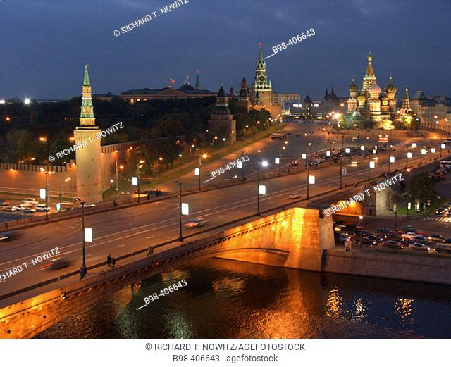Moscow, Russia, Kremlevskaya Nab, Kremlin Walls, Neva River, at twilight, with traffic, rush hour, car light streaks