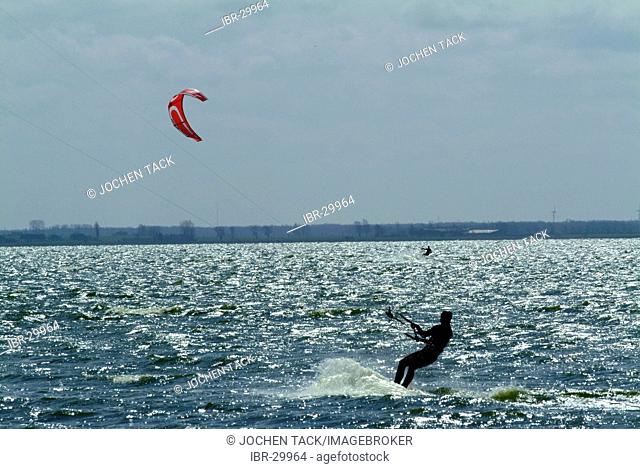 DEU, Germany, Darss: Kitesurfer in the Saaler Bodden inland sea