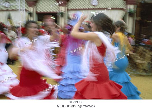 Spain, Andalusia, Jerez of de la Frontera, Fiesta, women, clothes, traditionally, dances,  Movement Europe, Iberian peninsula, destination, sight, tradition