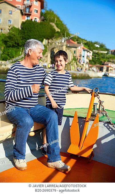 Grandfather and grandson, Sailing Boat, Port of Pasajes, Pasaia, Gipuzkoa, Basque Country, Spain, Europe