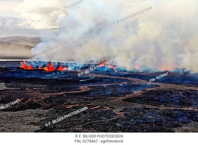 Volcano Bardarbunga, view on eruption at lava field Holuhraun at Sept 2nd 2014, Iceland