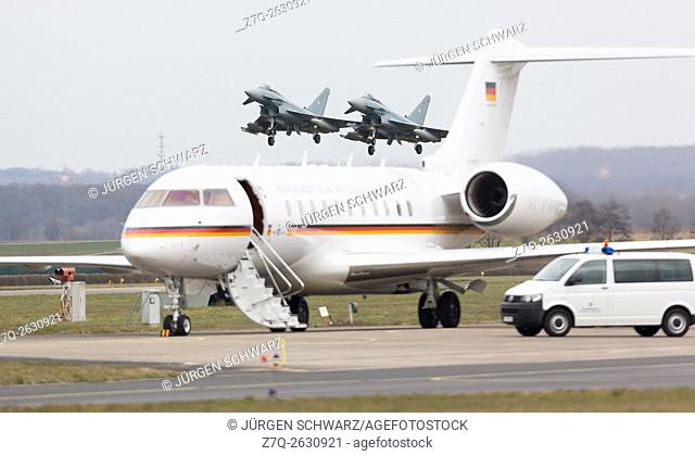 "Two Eurofighter over the Airbus A340 of the German Chancellor Angela Merkel, Tactical Air Force Squadron 31 """"Boelcke"""" in Noervenich, 03. 21. 2016"
