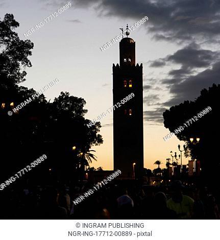 Minaret of a tower, Koutoubia Mosque, Marrakesh, Morocco