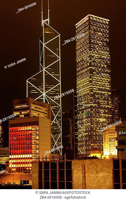 Central district at night (Bank of China, Citibank, Legislative Council), Hong Kong Island, Hong Kong, China, East Asia
