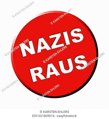 Button rund rot - Nazis raus