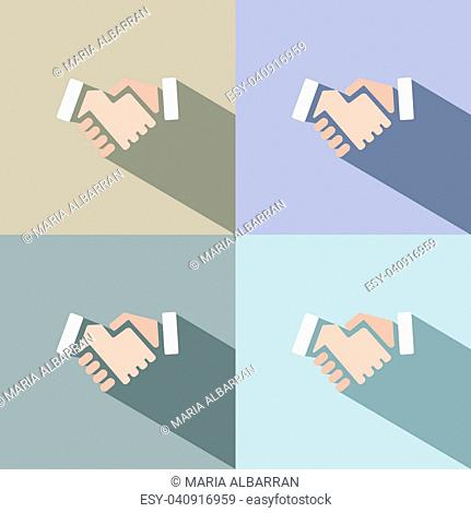 Handshake icon with shadow on colored backgrounds