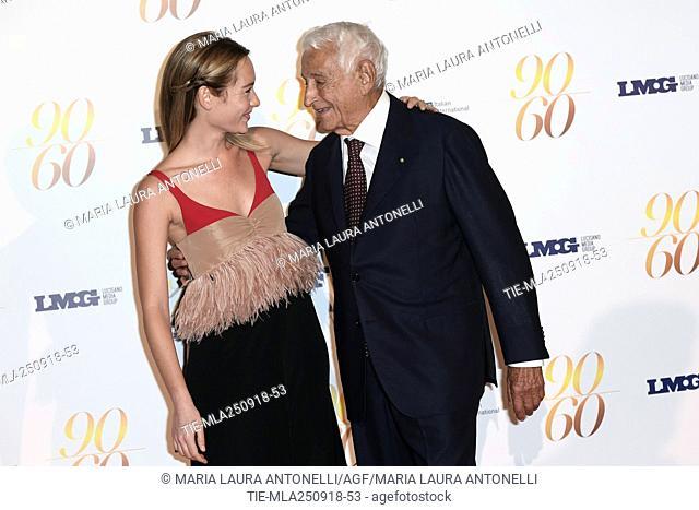 Cristiana Capotondi, Fulvio Lucisano during red carpet of 60/90 party, for 60 years of career and ninetieth birthday of Fulvio Lucisano, Italian Film Producer