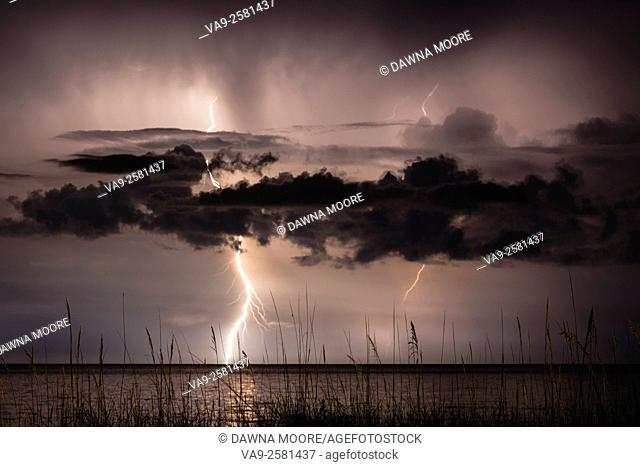 Bolts of lightning strike the ocean, lighting the night sky over Amelia Island in Florida