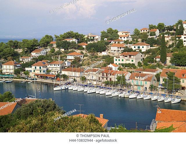 Croatia, Europe, Village of Stomorska, Island of Solta, Dalmatia, Europe, harbor, harbor, Eastern Europe, Balkans, Adr