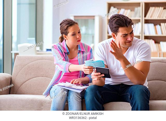 Young family discussing family finances