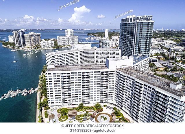 Florida, Miami Beach, Biscayne Bay, aerial overhead bird's eye view above, Flamingo South Beach condominium, high rise buildings, boats, water waterfront