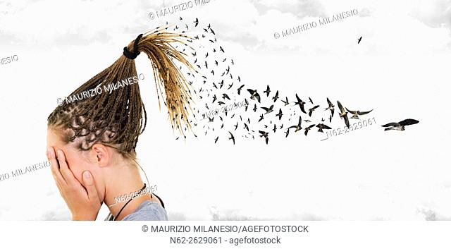 In a surreal sky, swallows come out from the braids of a girl who covers her face in front of many clouds