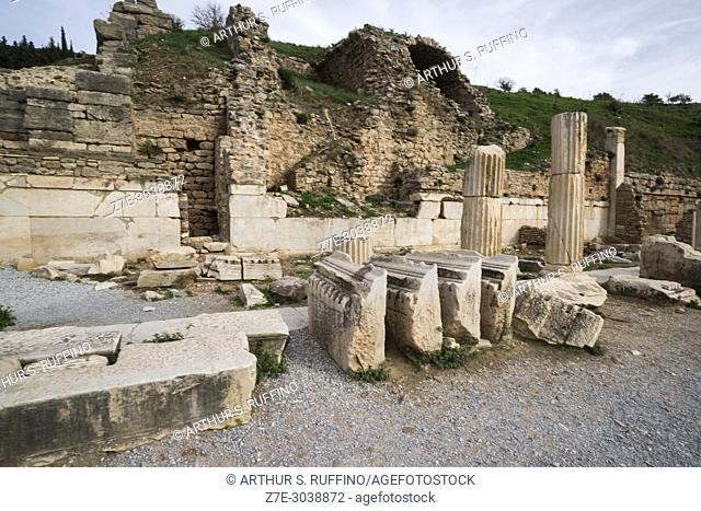 Archaeological ruins along Curetes Way. Ephesus, UNESCO World Heritage Site, Selçuk, Izmir Province, Ionia Region, Turkey, Eurasia