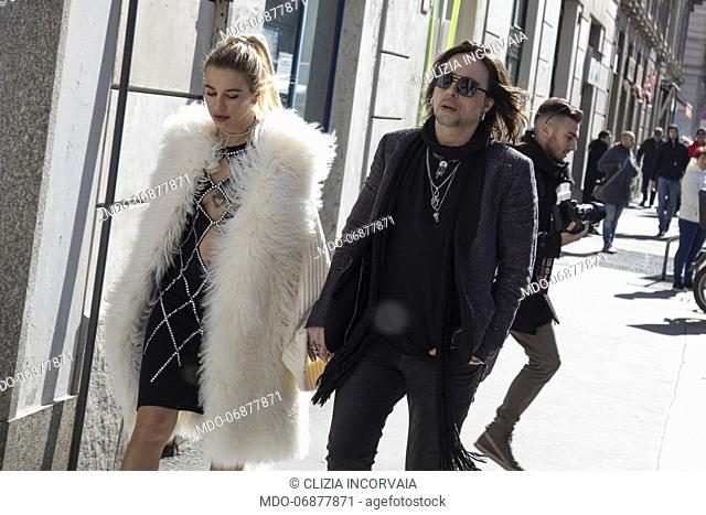 Italian singer Francesco Sarcina and italian showgirl Clizia Incorvaia arrive at the Laura Biagiotti show of Milan Fashion Week Woman F/W 19