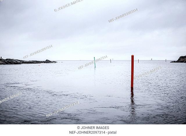 Poles in sea