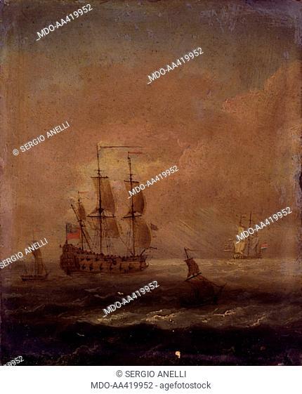 Seascape, Unknown Dutch Artist, 1690 - 1710, 17th - 18th Century, oil on copper, 16,5 x 14 cm. Italy, Lombardy, Milan, Castello Sforzesco
