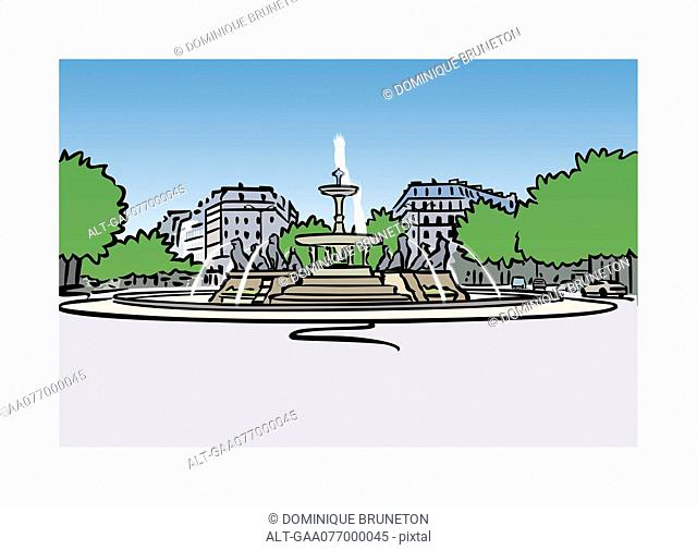 Illustration of fountain at Place Felix-Eboue in Paris, France