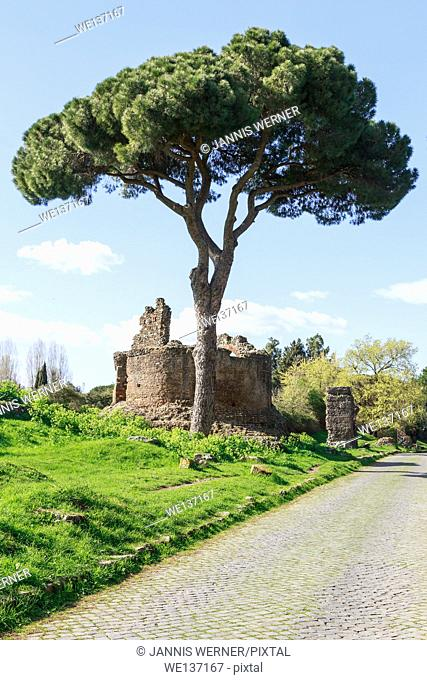 On the ancient Via Appia, the Appian Way, in Rome, Italy
