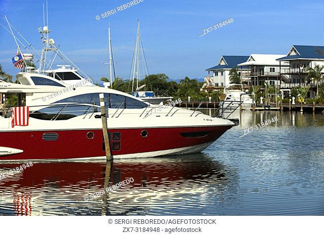 Luxury boats in Placencia harbour Belize