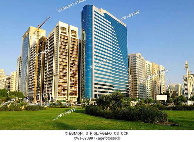 skyscraper, multistory buildings at the Corniche of Abu Dhabi, Emirate Abu Dhabi, United Arab Emirates, UAE, Arabia, Middle East, West Asia