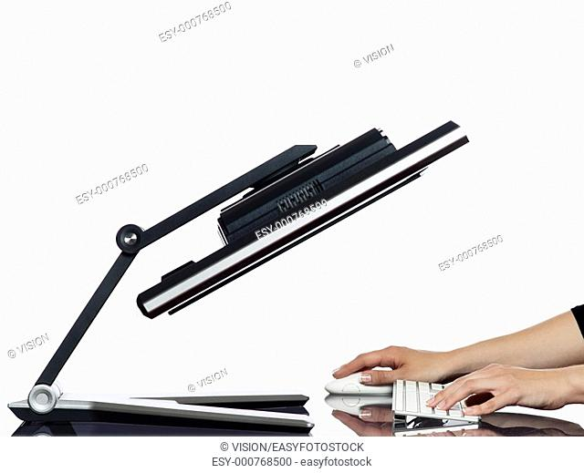 communication between human hand and a computer display monitor on isolated white background expressing curiosity cheating concept