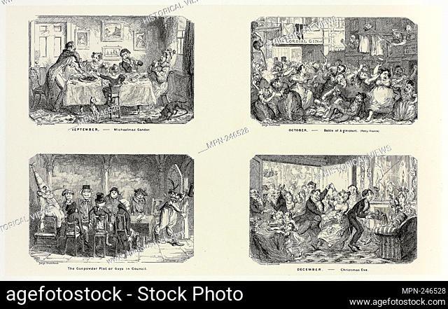September – Michaelmas Gander from George Cruikshank's Steel Etchings to The Comic Almanacks: 1835-1853 (top left) - 1838, printed c