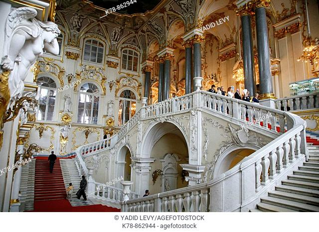 The main staircase at the Winter Palace  St  Petersburg, Russia