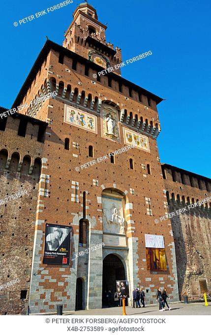 Torre del Filarete, Castello Sforzesco, Parco Sempione, Milan, Lombardy, Italy