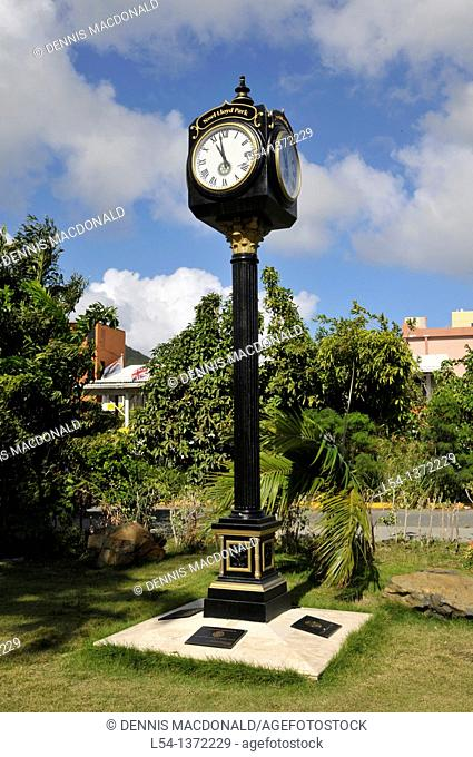 Clock in Noel Lloyd Positive Action Movement Park Road Town Tortola BVI Caribbean Cruise