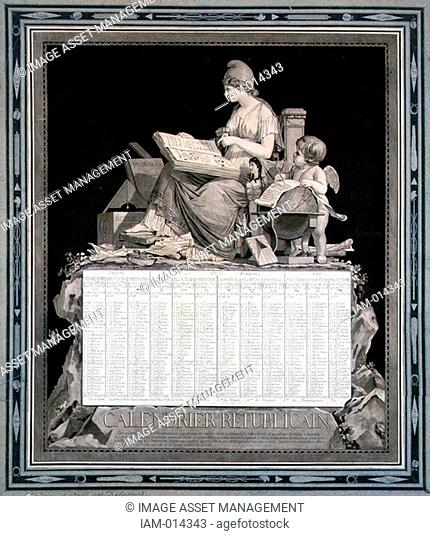 French Republican Calendar for 1794 Year III. Napoleon abolished this calendar with effect from l January 1806. Design by Louis Philibert Bebucourt 1755-1832