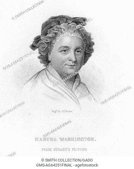 Martha Washington, steel engraving portrait of Washington, wife of George Washington and first First Lady of the United States, depicted as a mature woman