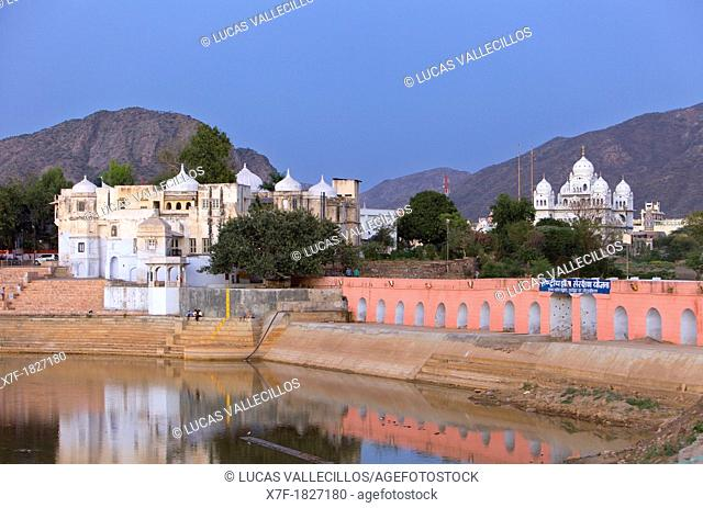 Temples along a lake, holy lake,pushkar, Rajasthan, india
