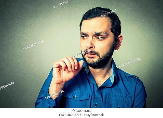 Portrait of the shocked bearded man