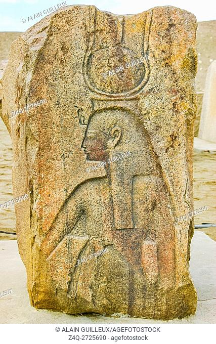Egypt, Nile Delta, Tanis, relief on the modern processional way to the temple : Queen or goddess, with an hathoric crown, cow horns and solar disk