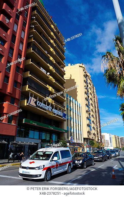 Avenida Virgin del Carmen, main street, next to the port, Algeciras, Andalucia, Spain