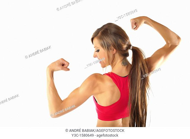 Young woman body building