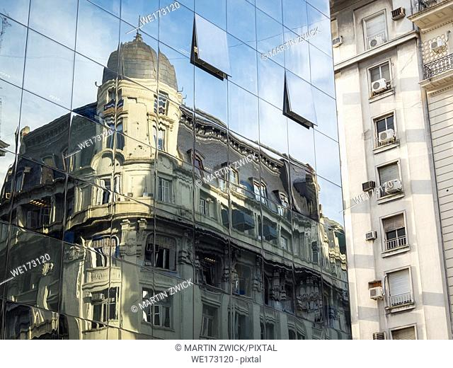 Facades of buidings in the microcentro. Buenos Aires, the capital of Argentina. South America, Argentina, Buenos Aires, November