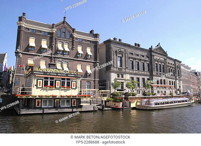 Rondvaart Koou jetty for tourist canal cruises at The Rokin Amsterdam