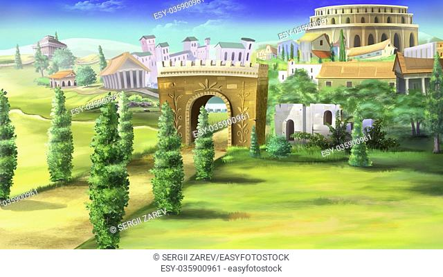 Digital painting of the ancient roman road with Triumphal Arch