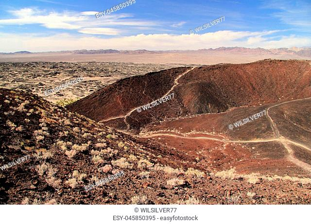 Hiking Trail through the Amboy Crater along Route 66 in California
