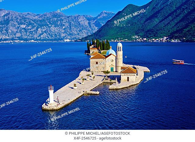 Montenegro, Adriatic coast, Bay of Kotor, Perast, Island of St. George and Our Lady of the Rock island