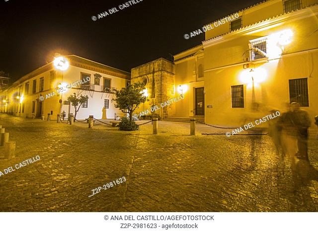 St Mary church by night Old town in Carmona, Seville province Spain