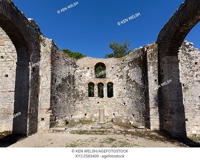 Albania. Butrint or Buthrotum archeological site; a UNESCO World Heritage Site. The Great Basilica. Interior