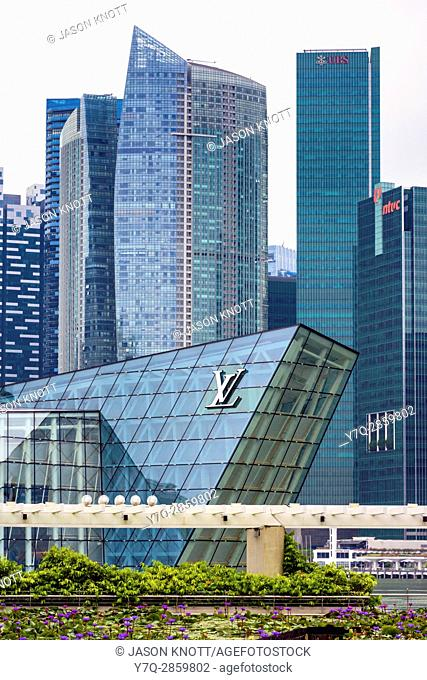 Louis Vuitton store and Marina Bay Financial Centre buildings, Marina Bay, Singapore