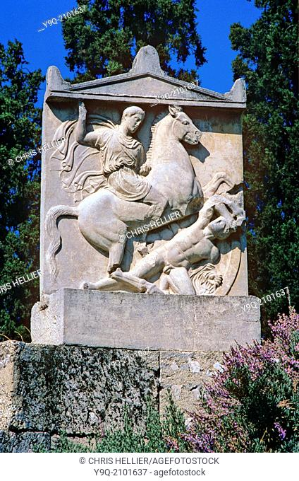 Tomb of Greek Soldier Dexileos Killed in Corinthian War (c393BC) Kerameikos Cemetery Athens Greece
