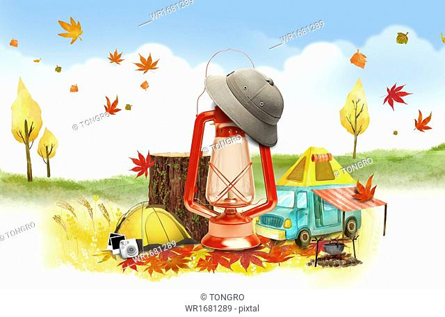 an autumn template with camping items