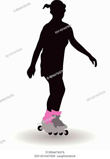 Girl on rollers vector silhouette