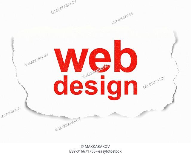 Web development concept: torn paper with words Web Design on Paper background, 3d render